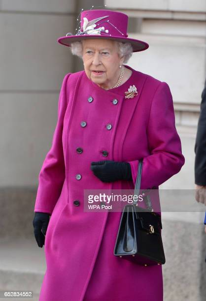 Queen Elizabeth II arriving for the launch of The Queen's Baton Relay for the XXI Commonwealth Games being held on the Gold Coast in 2018 at...