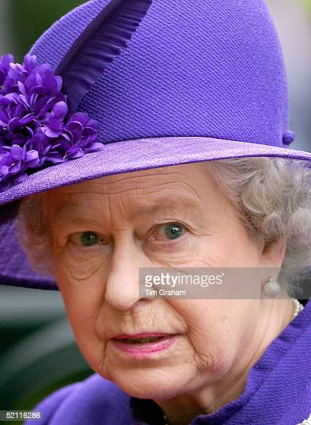 Queen Elizabeth II Arriving For The Society Wedding Of Edward Van Cutsem And Lady Tamara Grosvenor At Chester Cathedral