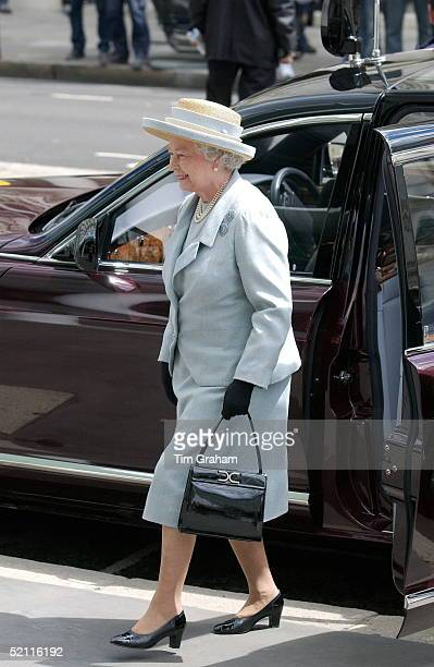 Queen Elizabeth II Arriving In Her Bentley Limousine Car To Open The Tanaka Business School At Imperial College In London