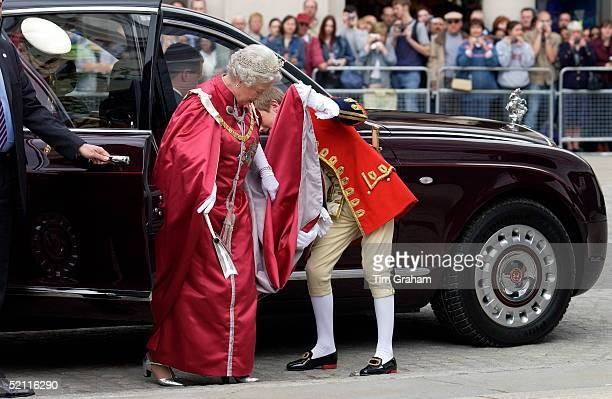 Queen Elizabeth II Arrivng At St Paul's Cathedral In Her Bentley Limousine Car To Attend A Service For The Order Of The British Empire