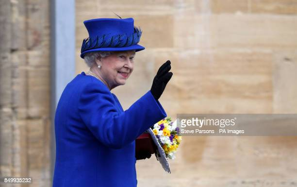 Queen Elizabeth II as she leaves Christ Church Cathedral in Oxford following the Royal Maundy service