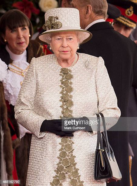 Queen Elizabeth II at a ceremonial welcome for the State Visit of The President of The United Mexican, Senor Enrique Pena Nieto and Senora Rivera on...
