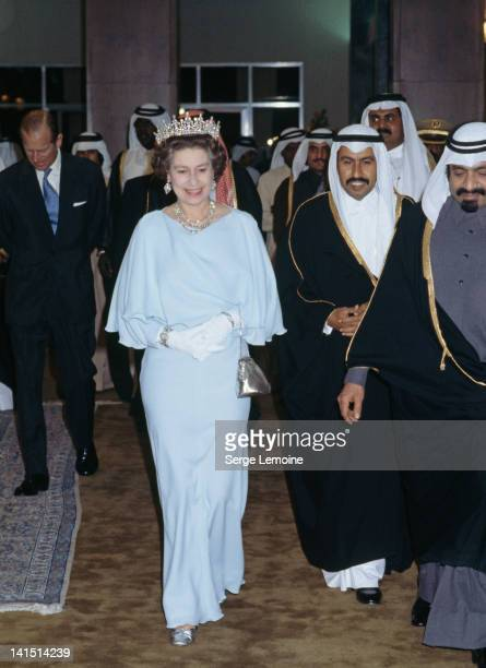 Queen Elizabeth II at a function during a state visit to Kuwait February 1979 On the left is Prince Philip