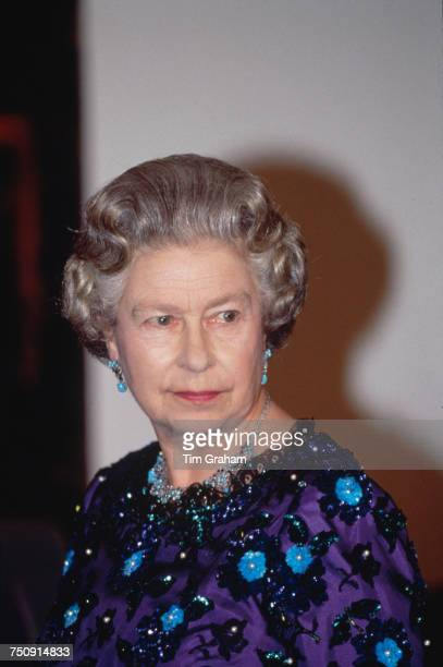 Queen Elizabeth II at a Scandinavian arts festival at the Barbican in London 10th November 1992
