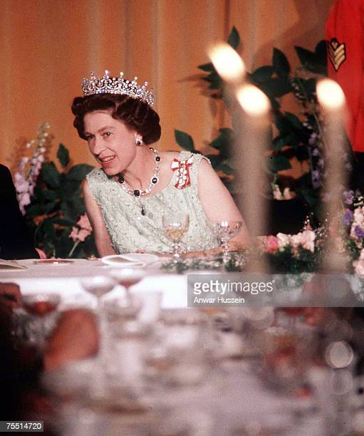 Queen Elizabeth II at a State Banquet in Canada, 1977. At the Various in Various, United Kingdom.