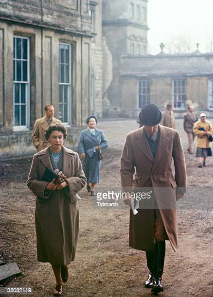 Queen Elizabeth II at Badminton House Gloucestershire for the Badminton Horse Trials April 1956 In the background are Prince Philip Duke of Edinburgh...