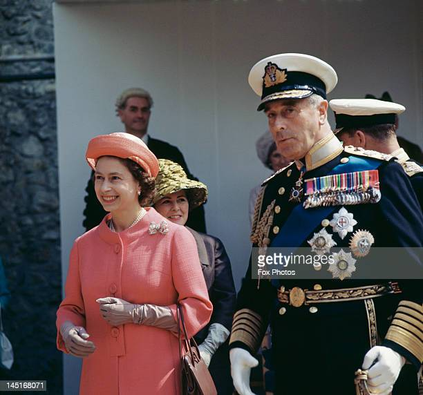 Queen Elizabeth II at Carisbrooke Castle on the Isle of Wight where she installed Earl Mountbatten of Burma as Governor of the island 26th July 1965
