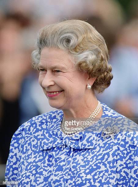 Queen Elizabeth II at Guards Polo Club in Berkshire, Windsor.