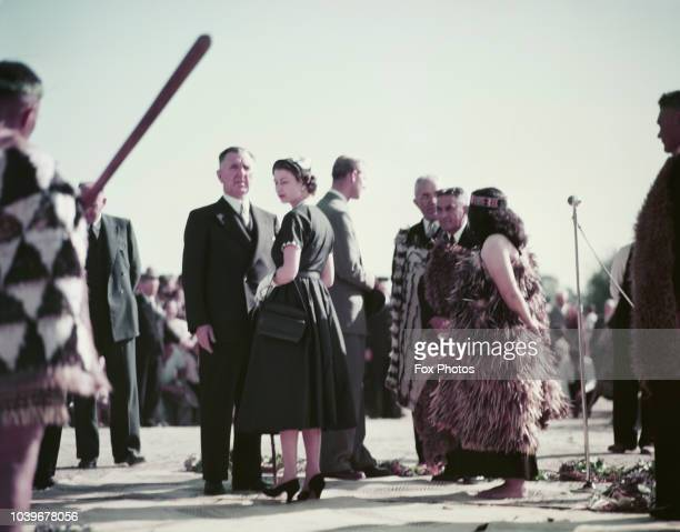 Queen Elizabeth II at Ngaruawahia New Zealand during her coronation world tour 30th December 1953 With her are Prime Minister of New Zealand Sir...