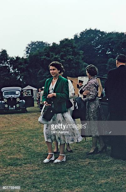 Queen Elizabeth II at the Ascot Week polo tournament in Windsor Great Park June 1955