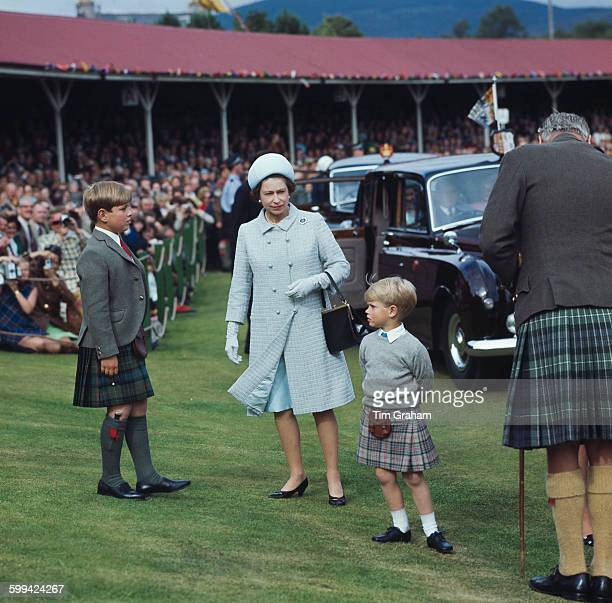 Queen Elizabeth II at the Braemar Highland Gathering Scotland with her sons Prince Andrew and Prince Edward 31st August 1969