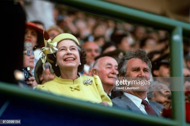 Queen Elizabeth II at the closing ceremony of the Commonwealth Games on October 9 1982 in Brisbane Australia during the Royal Tour of Australia