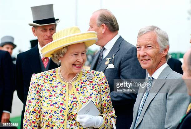 Queen Elizabeth II at the Derby with Lester Piggott