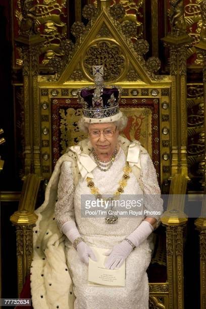 Queen Elizabeth II at the House of Lords Westminster for the State Opening of Parliament on November 6 2007 in London England