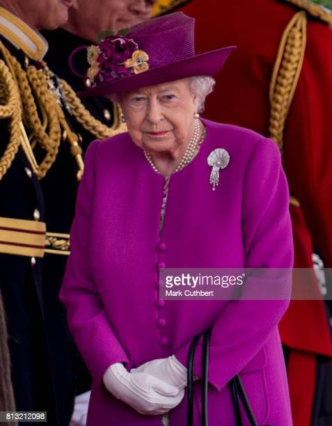 Queen Elizabeth II at the official welcome ceremony on Horseguards Parade during a State visit by the King and Queen of Spain on July 12 2017 in...