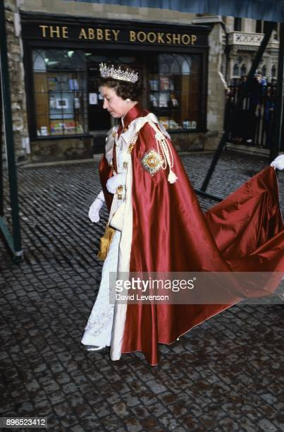 Queen Elizabeth II at the 'Order of the Bath' service on May 27 1982 at Westminster Abbey in London The Queen is wearing the robes of the Knights of...