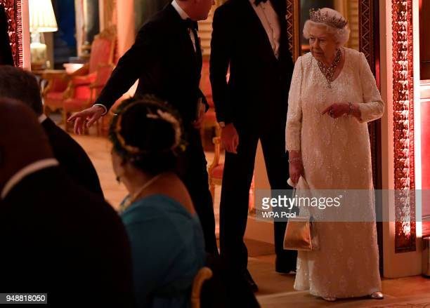 Queen Elizabeth II at The Queen's Dinner during the Commonwealth Heads of Government Meeting at Buckingham Palace on April 19 2018 in London England