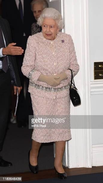 Queen Elizabeth II at the Royal institute of International Affairs, Chatham House on November 20, 2019 in London Colney, England.