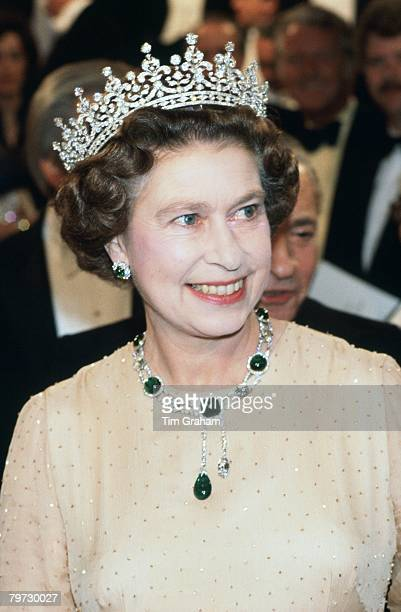 Queen Elizabeth II at the Royal Variety Performance wearing 'Granny's' tiara and Cambridge emeralds
