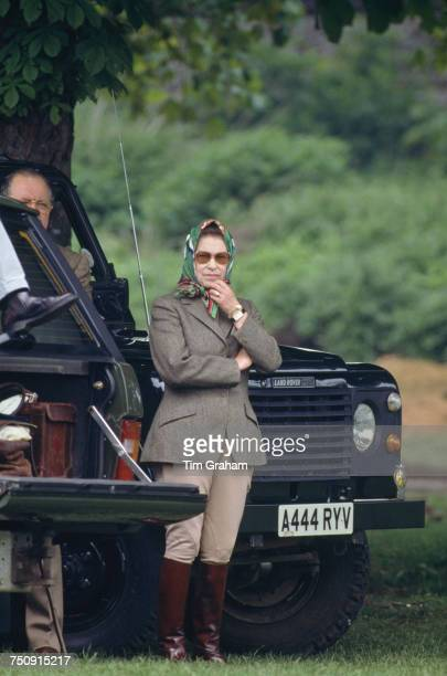 Queen Elizabeth II at the Royal Windsor Horse Show, Windsor Great Park, 13th May 1988.