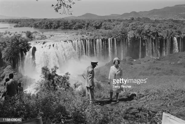 Queen Elizabeth II at the Tissisal Falls where the Blue Nile begins with Emperor Haile Selassie during a royal visit to Ethiopia 7th February 1965