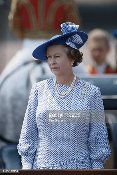 Queen Elizabeth II at the Trooping The Colour ceremony at Buckingham Palace London England Great Britain 17 June 1989 The Queen is wearing an outfit...