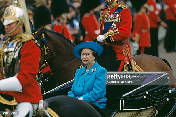 Queen Elizabeth II at the Trooping The Colour ceremony London UK 11th June 1988