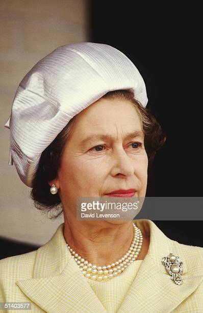 Queen Elizabeth II at the University of Manitoba in Winnipeg Canada on October 6 1984 during the Royal Tour of Canada