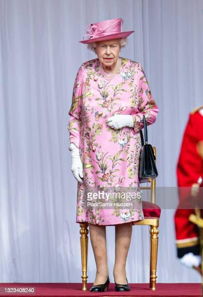 Queen Elizabeth II at Windsor Castle on June 13, 2021 in Windsor, England. Queen Elizabeth II hosts US President, Joe Biden and First Lady Dr Jill...