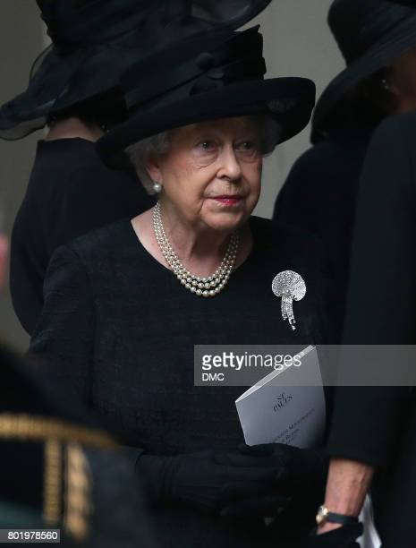 Queen Elizabeth II attend the funeral of The Countess Mountbatten of Burma at St Paul's Church on June 27 2017 in London England