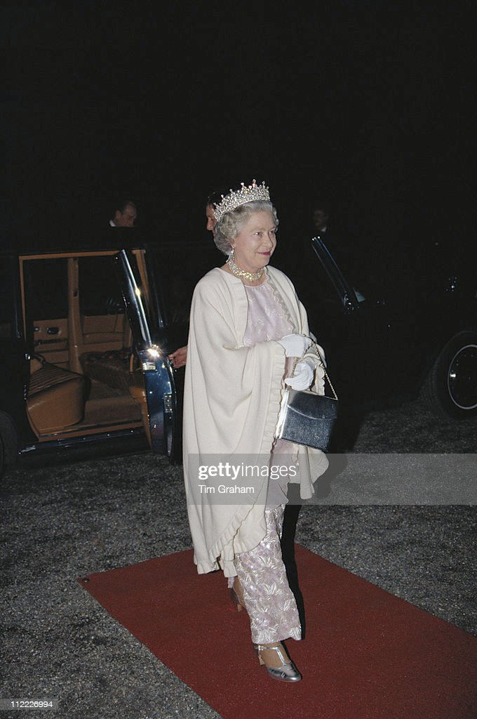 Queen Elizabeth II attending a banquet at the Schloss Charlottenburg in Berlin, during an official State Visit to Germany, 21 October 1992.