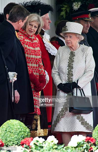 Queen Elizabeth II attending a ceremonial welcome for The President Of United Mexican States at Horse Guards Parade in London