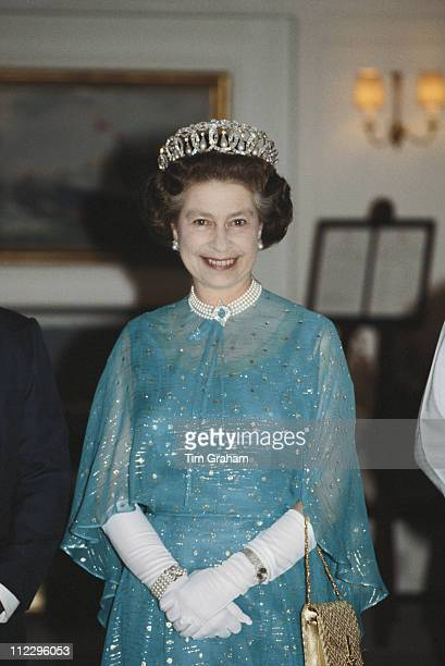 Queen Elizabeth II attending a film premiere at the Odeon cinema in Leicester Square London England Great Britain 24 February 1982