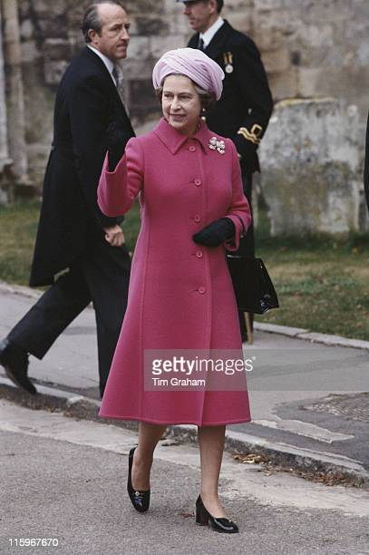 Queen Elizabeth II attending the wedding of Norton Knatchbull grandson of Earl Mountbatten and Penelope Eastwood at Romsey Abbey in Romsey Hampshire...