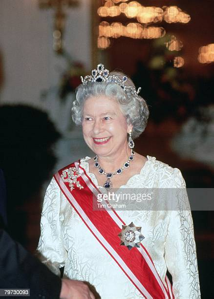 Queen Elizabeth II attends a banquet at Prague Castle during a State Visit to the Czech Republic
