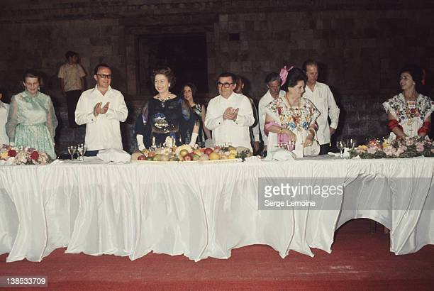 Queen Elizabeth II attends a banquet during her state visit to Mexico 1975