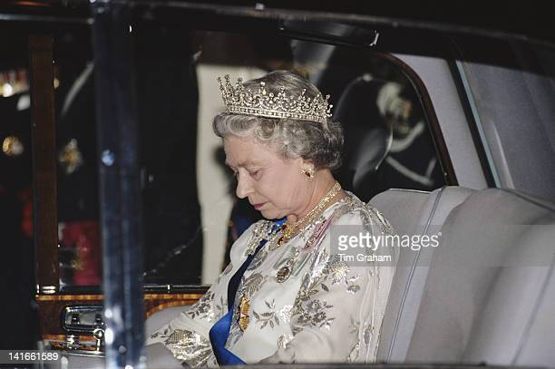 Queen Elizabeth II attends a banquet held in honour of the Ambassador of Portugal in London 29th April 1993