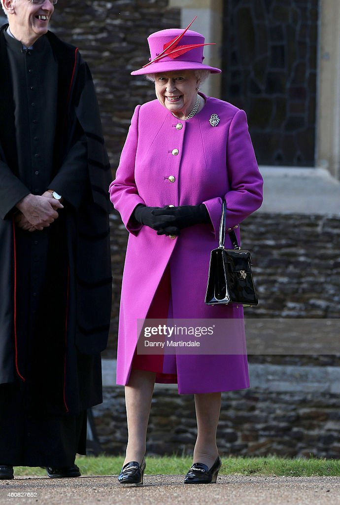 Queen Elizabeth II attends a Christmas Day church service at Sandringham on December 25, 2014 in King's Lynn, England.
