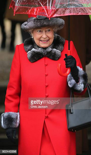 Queen Elizabeth II attends a Christmas Day church service at Sandringham on December 25 2015 in King's Lynn England