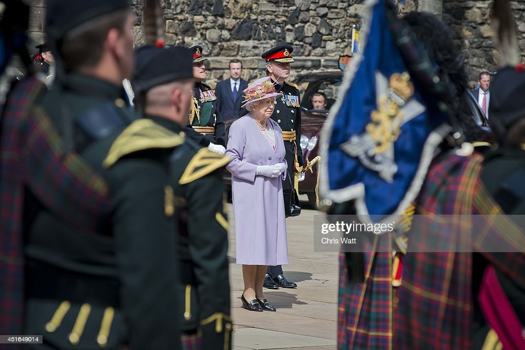 Queen Elizabeth II attends a commemorative service at the Scottish National War Memorial at Edinburg Castle on July 3, 2014 in Edinburgh, Scotland. The Queen and The Duke of Edinburgh have spent the week in Scotland attending various events and staying at the Palace of Holyroodhouse. The visit comes before the referendum vote on the 18th September.