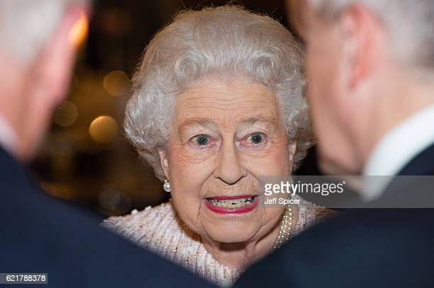Queen Elizabeth II attends a CoOperation Ireland Reception at Crosby Hall on November 8 2016 in London England During the reception The Queen...