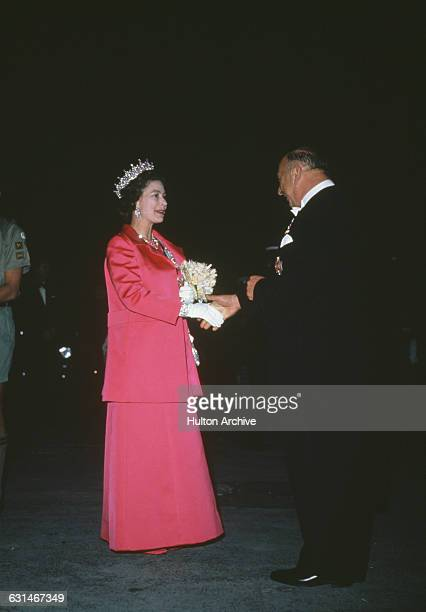 Queen Elizabeth II attends a formal event during her tour of Australia 1970 She is there in connection with the bicentenary of Captain Cook's 1770...