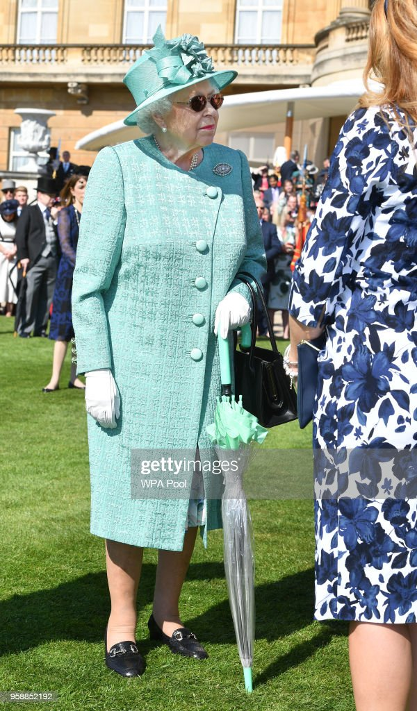 Queen Elizabeth II attends a garden party at Buckingham Palace on May 15, 2018 in London, England.
