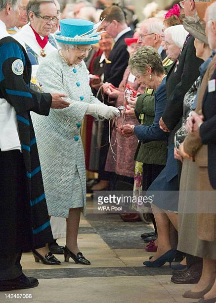 Queen Elizabeth II attends a Maundy Thursday Service at York Minster on April 5 2012 in York England Queen Elizabeth II Prince Philip Duke of...