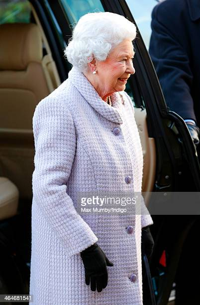 Queen Elizabeth II attends a meeting of the Sandringham branch of the Women's Institute of which she is President at West Newton Village Hall on...