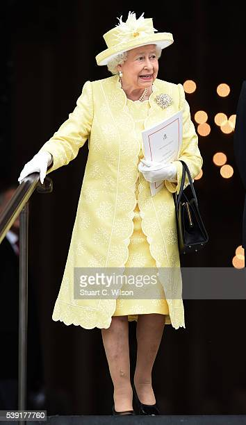 Queen Elizabeth II attends a National Service of Thanksgiving as part of the 90th birthday celebrations for The Queen at St Paul's Cathedral on June...