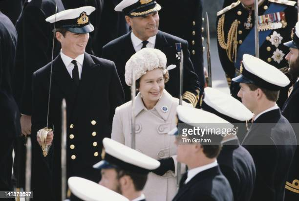 Queen Elizabeth II attends a Passing Out Parade at the Britannia Royal Naval College In Dartmouth Devon 2nd April 1980