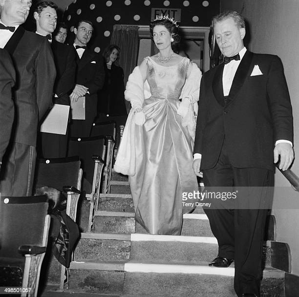 Queen Elizabeth II attends a performance at RADA to celebrate the drama school's Diamond Jubilee London UK November 1964