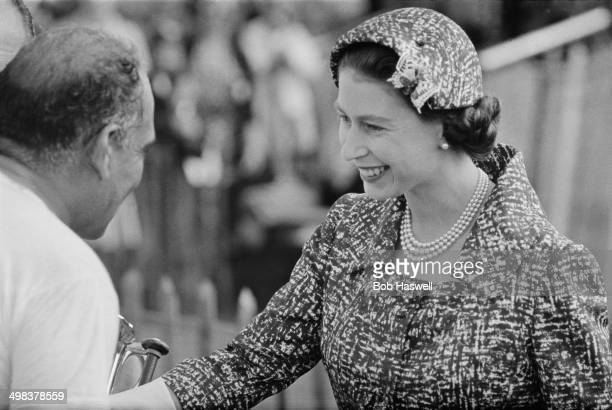 Queen Elizabeth II attends a polo match at Windsor UK 4th August 1958