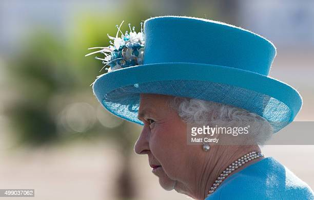 Queen Elizabeth II attends a prize giving ceremony on a visit to Malta Racing Club at Marsa racecourse on November 28 2015 near Valletta Malta Queen...